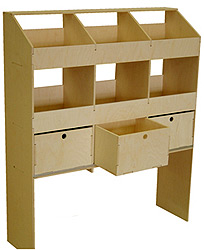 Wooden Rack 6 Pigeon Hole With Drawers 400 Deep